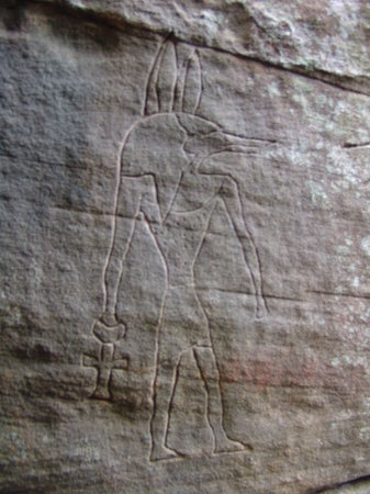 New South Wales, Austrália: Anubis at Gosford Glyphs site
