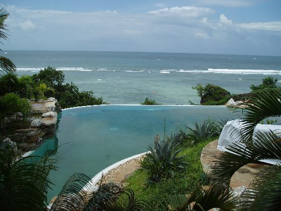 Pool, view from our table on the balcony, Lamu villa 1