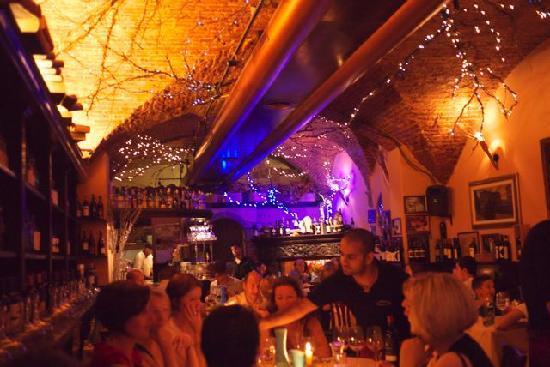 La Giostra: Inside the restaurant.  Christmas lights