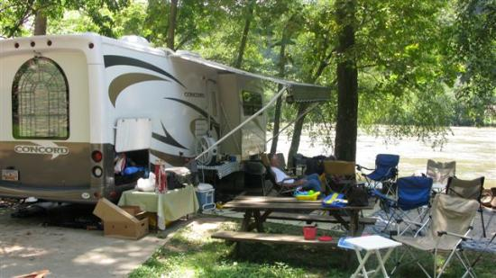French Broad River Campground: River front RV spot