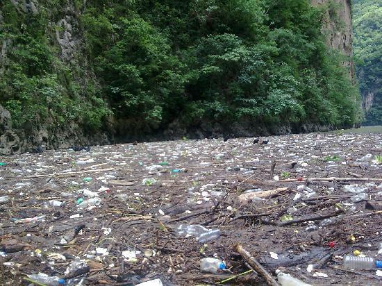 Parque Ecoturístico Cañón del Sumidero: Cañón del Sumidero. Chiapas. Mexico. Una horrible mancha de basura... ups