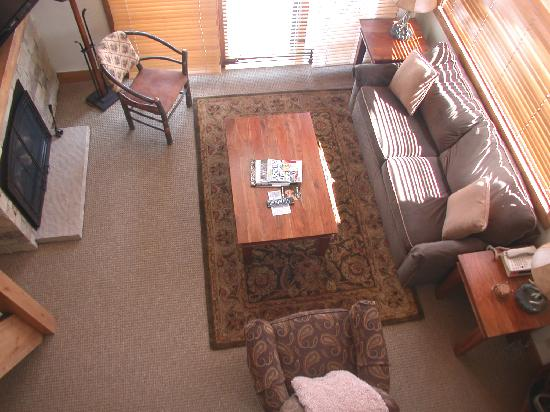 The Crestwood Condominiums: Living room looking down from loft bedroom