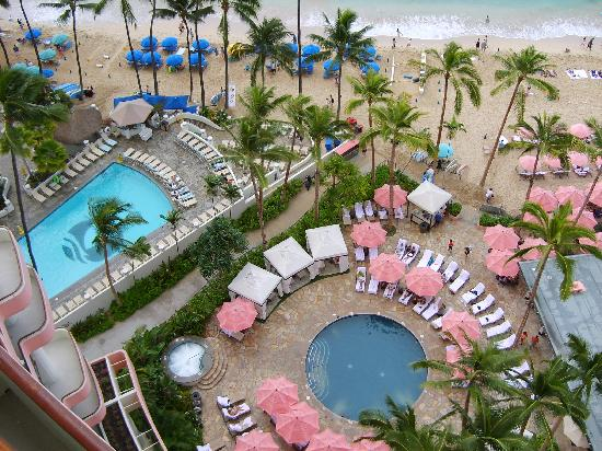 The Royal Hawaiian, a Luxury Collection Resort: view of the pool below (the pool on the left is the hotel next door)
