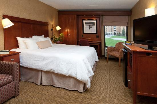 Hampton Inn Harrisburg East (Hershey Area): This spacious room combines a king-size bed and pull-out sleeper sofa. In-room amenities include