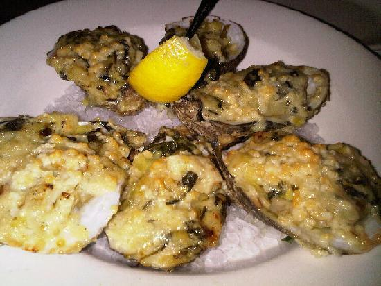 Fins Fish House & Raw Bar : Oyster Asiago; a delicacy from the heavens, really.