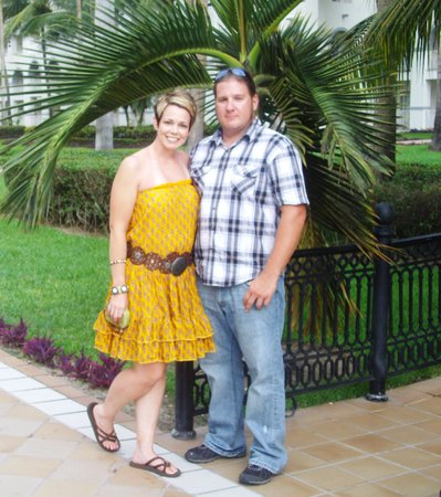 hubby and I out in the courtyard