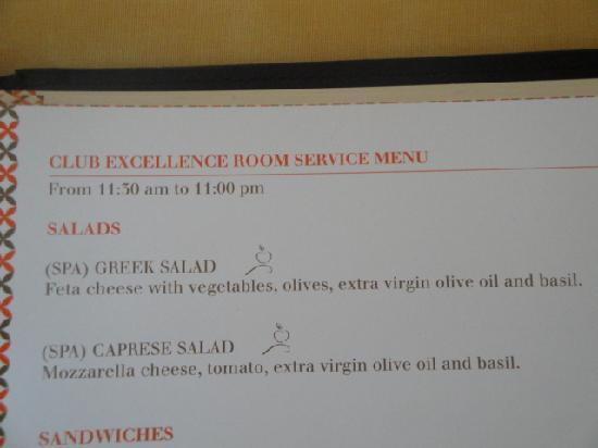 Excellence Riviera Cancun Room Service Menu
