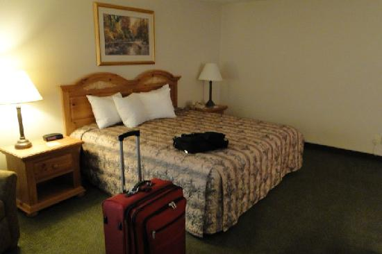 Country Inn & Suites By Carlson, Chippewa Falls: Bed with lights on, Lights off very dark