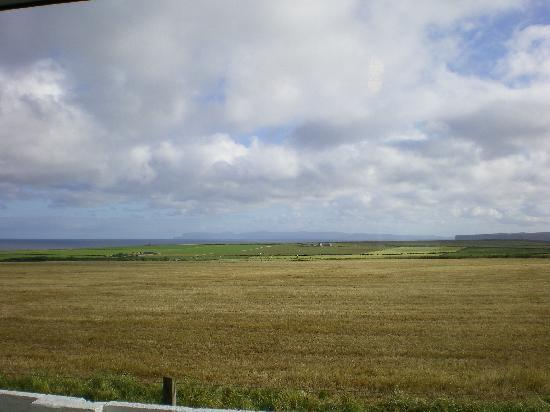 The view from our bedroom at Skara--the islands you see are the Orkneys.
