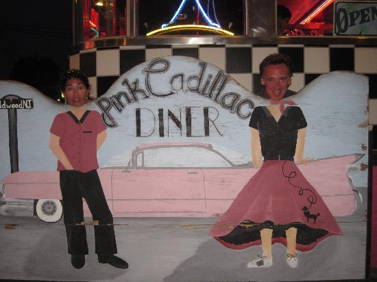 Quebec Motel By-The-Sea: Outside the Pink Cadillac Diner- show your roomkey get 10% off