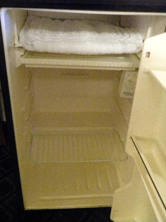 Holiday Inn Port St. Lucie: Inside of mini fridge.  Yes, that is the freezer compartment on top.