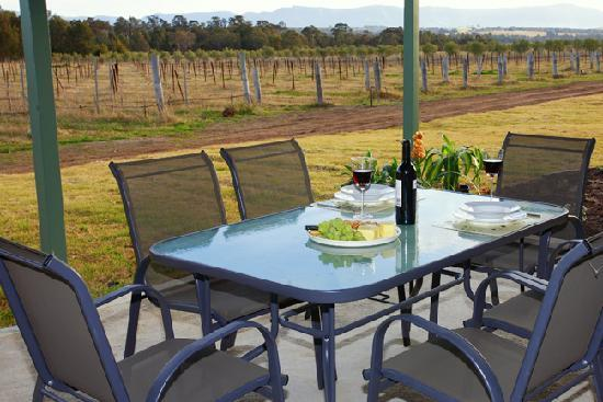 Talga Estate: Private verandah's with BBQ, and stunning views to of the vineyard and Brokenback mountain range
