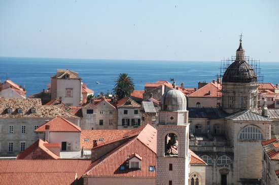 Saraca Apartments - Cathedral View & The Old Bakery: View of the ment from the city wall (black shutters in centre)