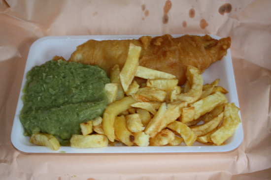The Swan: Fish and chips and mushy peas after unwrapping