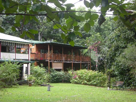 Red Mill House in Daintree: view of balcony from amazing garden