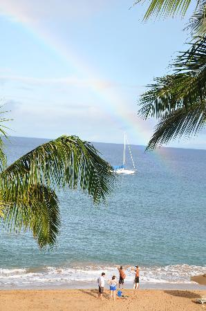 Kaanapali Alii: First morning rainbow on beach, unretouched