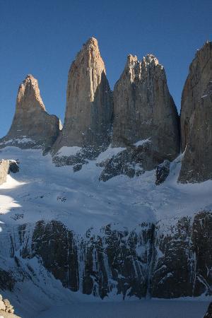 Las Torres Patagonia: winter view of torres del paine