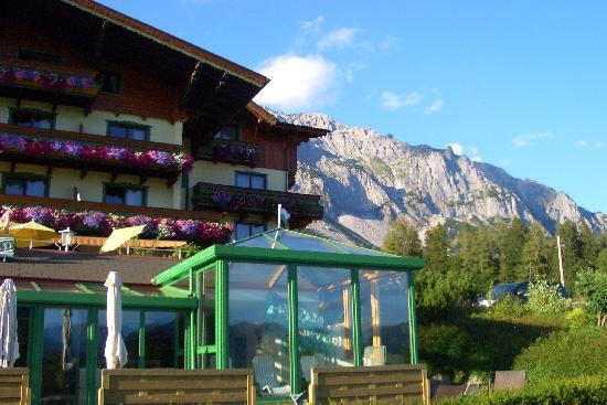 Hotel & Pension Jagdhof: im Hintergrund das Dachsteinmassiv