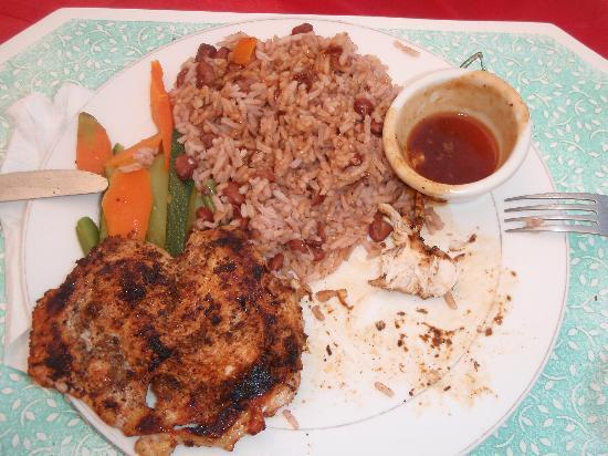 Blue Cave Castle: Jerk Chicken by Teddy, that sauce is to die for