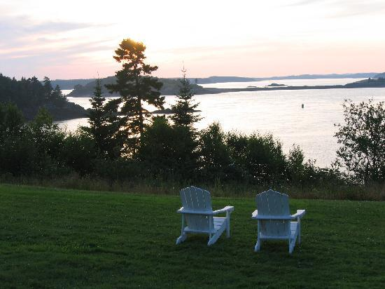 An Island Chalet: Sunset from the front porch