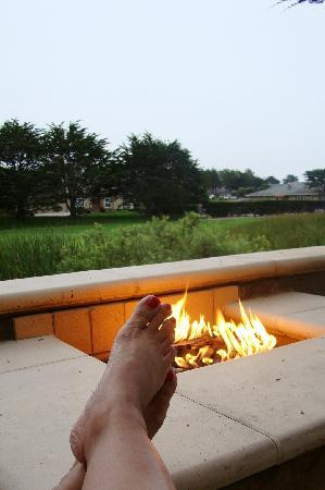 The Ritz Carlton Half Moon Bay Enjoying Fire Pit On Terrace