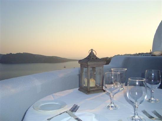 Περίβολας: view from dinner on the private patio
