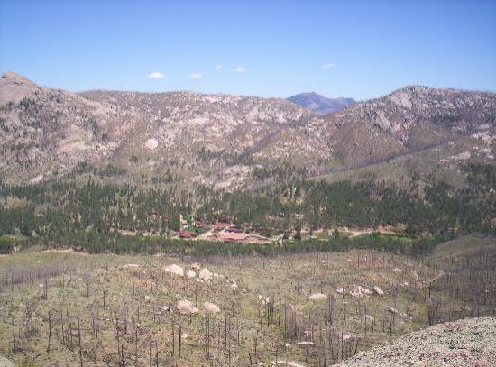 A view of Lost Valley Ranch from nearby Helen's Rock