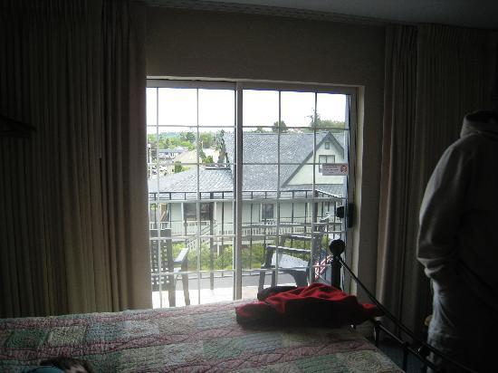 The Coupeville Inn: little balcony with 2 chairs off of room