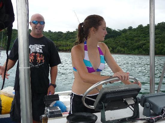 Costa Rica Kayak Fishing - Day Tours: Joe gives Amy a chance at the wheel