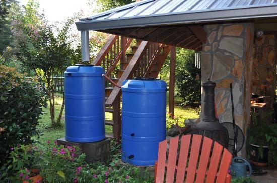 Cedar House Inn & Yurts: Rain barrels