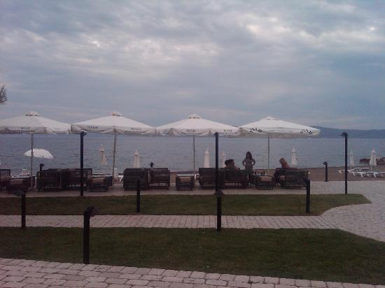 Thermisia, Griechenland: This is the beach looking from the cafe