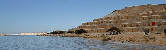 Ad Dakhla, Westsahara: Bungalows on the lagoon in Dakhla