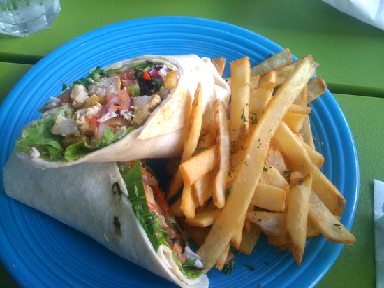Pina Colada Club: grilled chicken wrap with fries