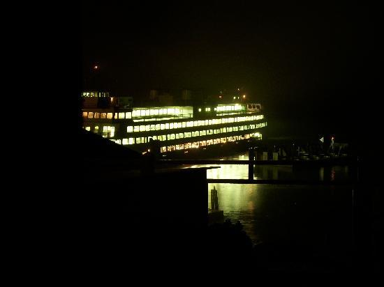 Boardwalk on the Water: Night-time view from cottage deck of the ferry landing.