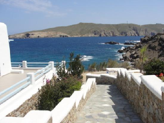 Mykonos Star: Walk from office to pool overlooking bay