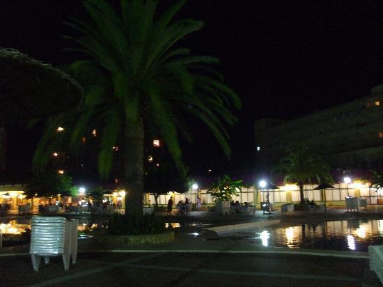 Club Cala Romani: the pool at night