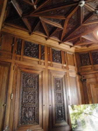 The Castle at Skylands Manor: The intricate wood carvings in the study