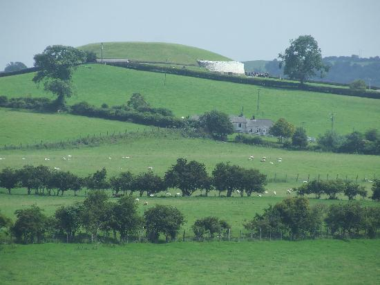 Rossnaree: The view of Newgrange from the William Morris room