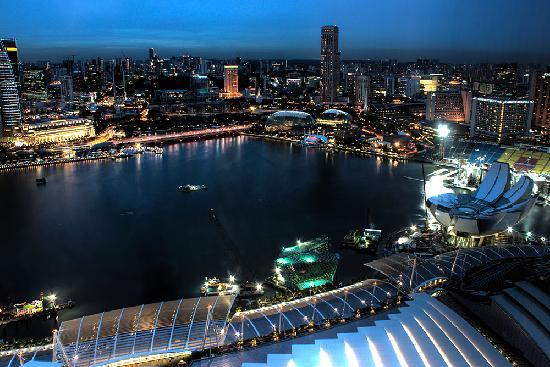 Marina Bay Sands: City view from Horizon Grand room on 44th floor, Tower 1