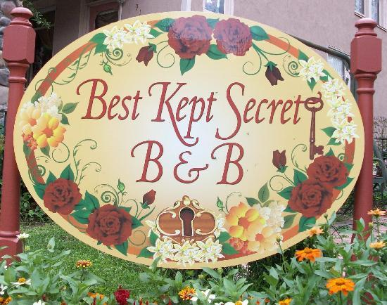 Best Kept Secret B & B: Best Kept Secret sign