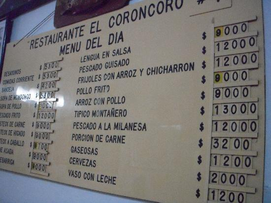 Restaurante Coroncoro: The menu