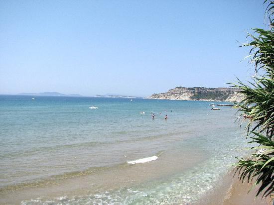 Arillas beach from balcony at Graziella's restaurant.