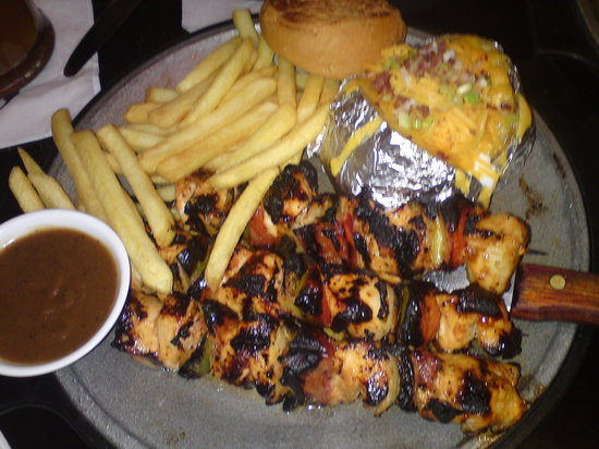 steaky chicken tawouk w/ baked potato and fries