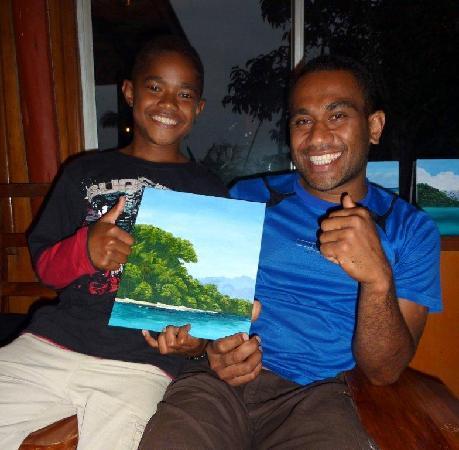Daku Resort: Tony & Demo appreciating painting efforts
