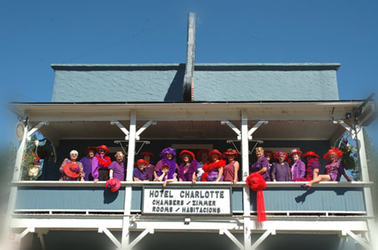 Charlotte Bistro & Bar: Red Hatters on Porch for Photo for the Red Hat Calendar