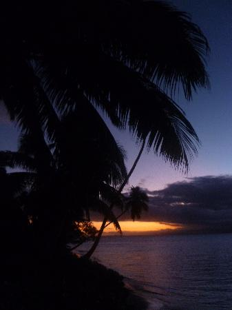 Jean-Michel Cousteau Resort: The sunset from out the front of my Bure