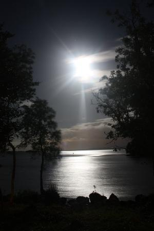 Kesh, UK: Moonlight on the Lough from lodge balcony
