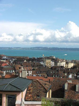 look from chateau  to Neuchatel's roofs