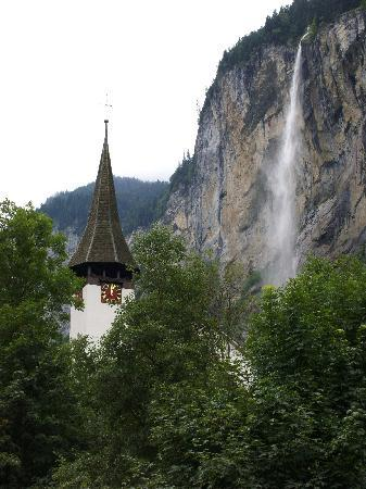 Lauterbrunnen Church and falls