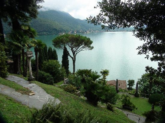 Morcote, Switzerland: View to Lugano lake, from Parco Scherrer